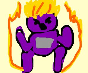 Purple Teletubby going super saiyan