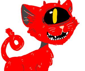 Satanic one eyed cat