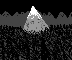 One happy mountain amidst many sad peaks