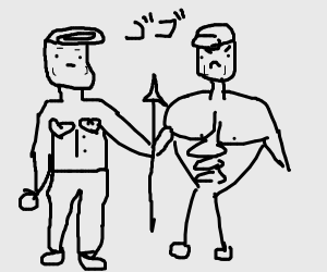 jotaro and josuke holding spear