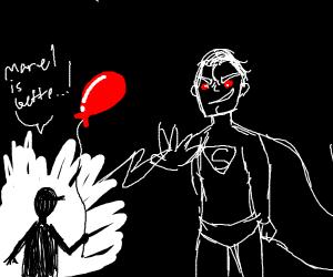 Superman disintegrating a child