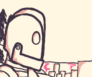 Giant robot staring down the city