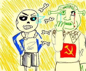 Sans fighting communistic Shrek.