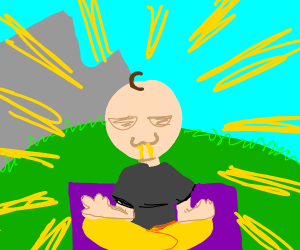 guy eating noodles doing yoga