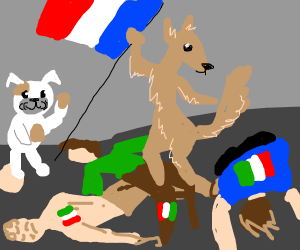 french revolution but with dog and italians