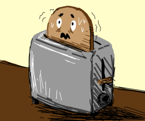 Peace of bread panics in toaster
