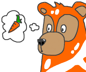 Orange and white bear wants a carrot