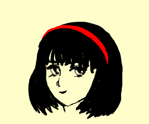 anime girl with crooked bangs