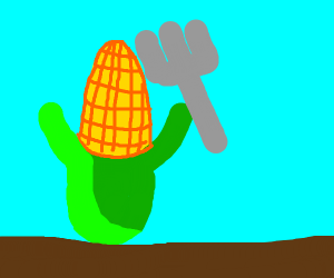 corn-man holds a fork