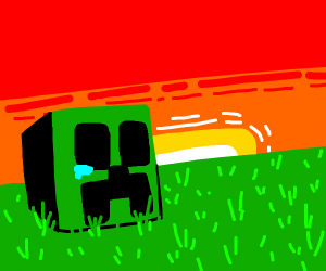 Sad Creeper head on the grass
