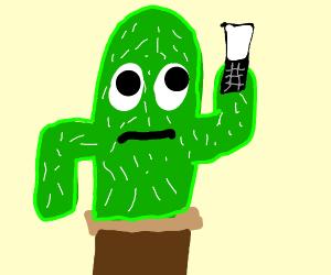 Cactus using his flip phone
