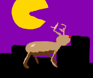pacman moon over girl and reindeer