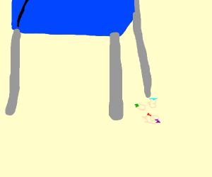 Throwing pencil shavings at legs