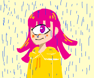 Pink-haired monster girl in raincoat