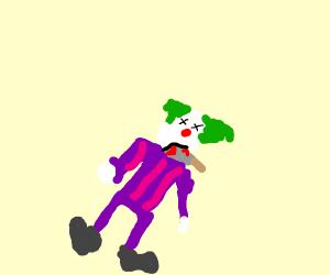 Clown prepares to eat bloody knife
