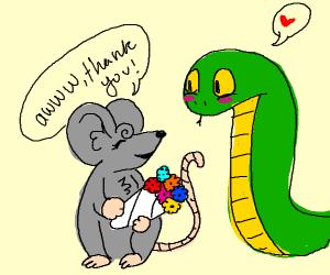 Snake man loves mouse lady.