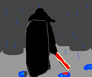 Darth Vader in the rain