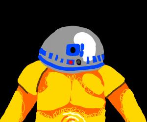 R2D2's head on C3P0's body