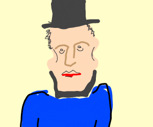 abe lincoln in a bright blue coat