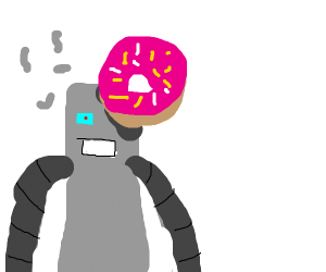 Robot getting destroyed by a donut