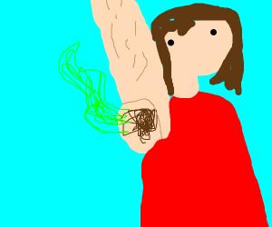 A woman has stinky armpits
