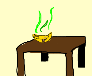 Stinky banana on a table