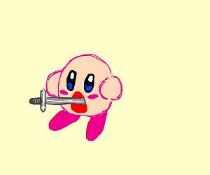 Kirby is a sword swallower