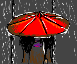 girl with umbrella in a playground
