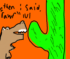 Dinosaur talks to cactus.
