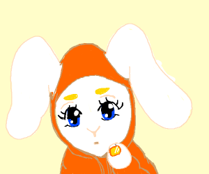 female bunny hoodie girl is waifu
