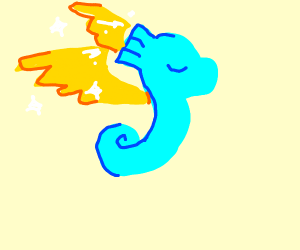 Seahorse with golden wings