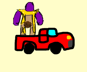 thanos car is pooping in his pans