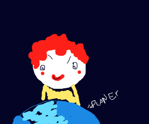 Evil Clown looming over Planet