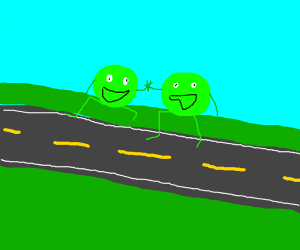 Peas crossing the Road