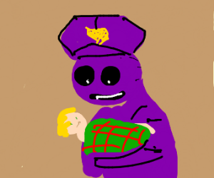 a baby being held my the purple man from fnaf