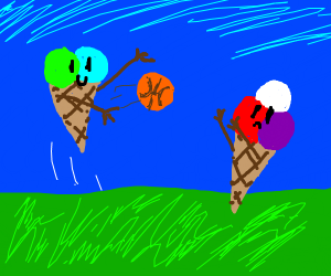 two icecream cones playing backet ball