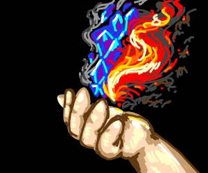 fire & ice, opposites, conjured together