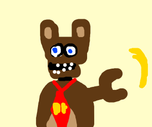 fnaf freddy with a DK tie stealing a banana