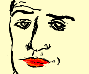 man with lipstick seductively looks at you