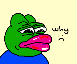 Pepe feels bad after having his lips ENORMOUS