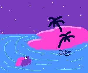 fish in ocean near island