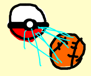 a pokeball shooting out a basketball