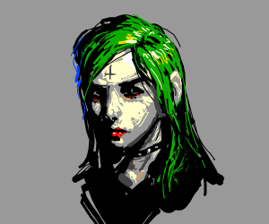 Satanic green-haired chick