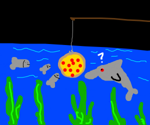 Fishing using pizza as bait