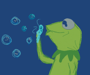 Green boi blowing bubbles