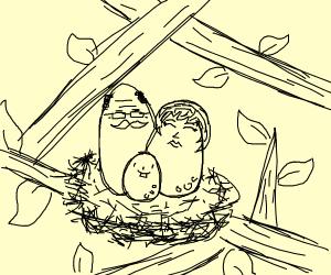 Papa Egg, Mama Egg, & Baby Egg nest quietly.