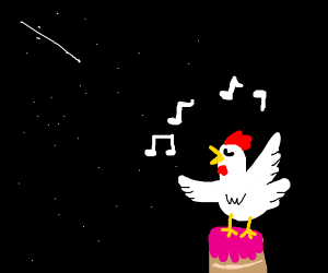 a chicken singing on a cake