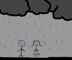 Man and a woman under the rain