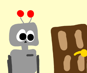 A square robot looking at a door