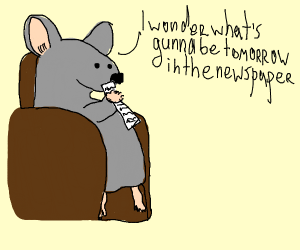 Mouse reading the newspaper
